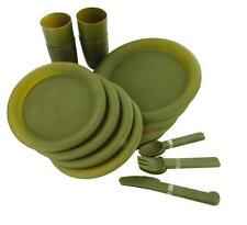 Olive Green Picnic / Plate and Mug Set Highlander 4 person 24 Piece set ~ New
