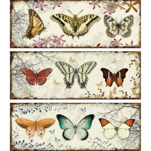 Metal Wall Plaques Butterfly Picture Wall Art Vintage Style Butterflies 38cm