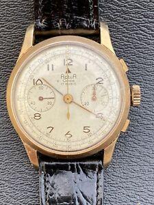 Montre Chronographe Actua Geneve Suisse Vintage Landeron 48 Plaqué Or 37mm