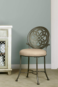 Hillsdale Furniture Marsala Vanity Stool, Gray with Brown highlighting with