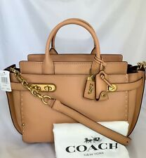 COACH 25132 Double Swagger Glovetanned Leather Handbag Satchel OL/Apricot NWT