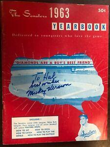 MLB BASEBALL THE SENATORS SIGNED MICKEY VERNON YEARBOOK PROGRAM 1963 EXCELLENT