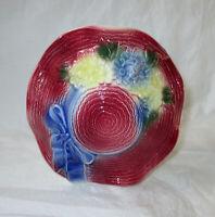 "5.25"" Royal Copley Small Hat Planter 1950s Wall Pocket, Sun Bonnet & Flowers"