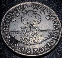 1830 PTS JL Bolivia 4 Soles Bolivar Rare Silver Coin