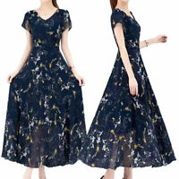 Damen Blumen Swing Kleid mit V-Ausschnitt Frauen Sommer Beiläufig Langer Rock