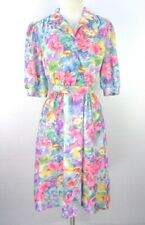 Vintage 80s Does 50s Watercolor Gauze Day Dress M Bright Floral Belted Secretary