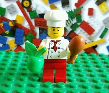 Lego City Chef Minifigure lot w/ food apple & turkey leg red scarf tie