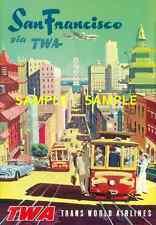 "TWA Airline 8.5"" x 11""  Travel Poster [ SAN FRANCISCO ] -"