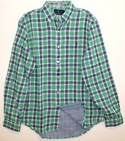 Polo Ralph Lauren Mens Green Blue Plaid Flannel Lined Button-Up Shirt NWT Size S