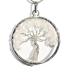 """CHARGED Amplifier (Clear) Quartz Tree of Life Perfect Pendant™ 20"""" Silver Chain"""