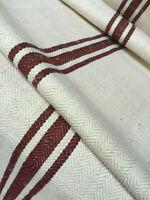 Ballen Fischgrät Leinen mit kakaofarbene  Streifen 500 x 59 cm,Linen Fabric