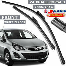 "Vauxhall Corsa D 2006-14 Front Windscreen 26""-16"" Inc Flat Aero Wiper Blades Set"