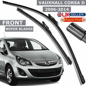 "Flat Aero Wiper Blades Set Vauxhall Corsa D 2006-14 Front Windscreen 26-16"" Inch"