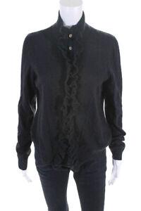 Tory Burch Womens Wool Long Sleeve Button Up Ruffle Cardigan Black Size Large