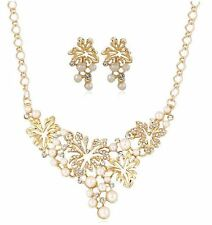 GOLD TONE CREAM FUAX PEARL DROP VINE  DIAMANTE CRYSTAL NECKLACE EARRING SET