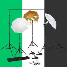 Lusana Studio Photography Kit 3 Light Bulb Umbrella Muslin 3 Backdrop Stand Set