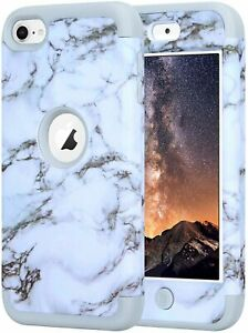 iPod Touch 5th 6th 7th Gen - Gray Marble High Impact Armor Hard&Soft Hybrid Case