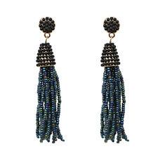 Ohrring Indianerschmuck Perlen schwarz blau schimmernd Metall goldfarben