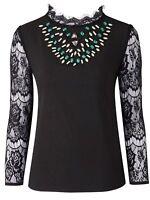 Ladies Embellished Coloured Stone & Full Lace Evening Blouse Size 14 to 22