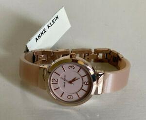 NEW! ANNE KLEIN ROSE GOLD DIAL HORN RESIN LIGHT PINK BRACELET WATCH AK/2476LPRG