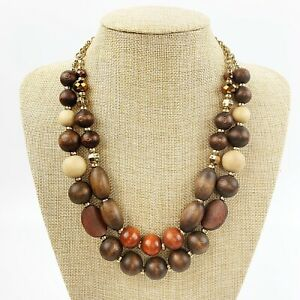 Fuchsia and Brown Handmade Wooden Statement Necklace
