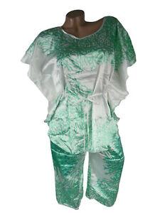 Damen Schlafanzug Pyjama-Set Nachtwäsche Satin Capri Schlafwäsche Weiss Grün