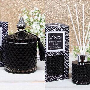 Pomegranate Soy Boutique Candle Jar & Reed Diffuser Set Black & Silver Tassel