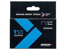 Arrow-T50 Grapas De Acero Inoxidable 505ss 8mm (5/16in) Caja 1000