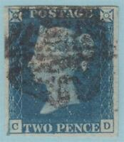 GREAT BRITAIN 2 PENNY BLUE 4 MARGINS 1840 NO FAULTS EXTRA FINE !