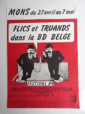 RARISSIME Affiche Mons 1984 Flics et truands Tintin