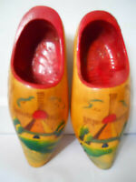 Vintage DUTCH WOODEN CLOGS Holland Barricini Hand painted carved Klompen shoes