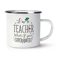 Yo soy un profesor? cuál es su superpotencia Retro Esmalte Taza Taza-Superhéroe Divertido