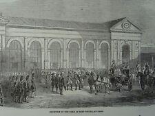 RECEPTION OF THE DUKE OF SAX-COBURG IN PARIS Original Victorian Print 1854