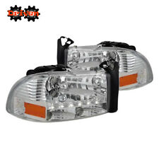 97-04 Dakota 98-03 Durango 1pc Headlights w/LED DRL Crystal Chrome Housing Sport