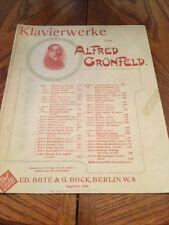 Klavierwerke Von Alfred Grunfeld Etude A La Tarantella Antique 1897 Sheet Music