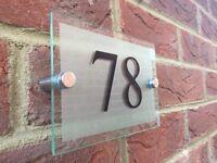 MODERN HOUSE/HOTEL SIGN PLAQUE DOOR NUMBER GLASS EFFECT ACRYLIC