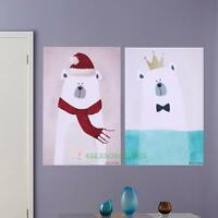 Polar Bear Poster Print Picture Kids Room Decor Wall Art Animal Painting Canvas