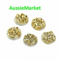 20 x gold druzy drusy resin cabochons round 12mm x 4mm jewellery jewelry craft