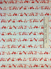Moda Fabric - Apple Jack Tim & Beck Retro Car Plane Helicopter on Beige Line Yd