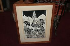 Vintage Woodblock Print Houses Trees Signed Margaret Lannacone 1970 Framed