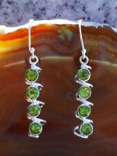 Ohrring Spirale Sterling Silber 925 Olivin Peridot grün Stein des August