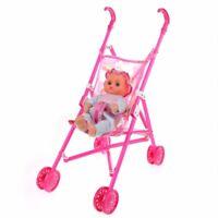 Puppen Buggy Kinder-Sportwagen Kinderwagen Babywagen faltbare Spielzeug Puppe DQ