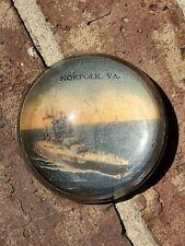 "Vintage Norfolk Virginia Naval Ship Globe 3"" Dome Paperweight Military Sea"