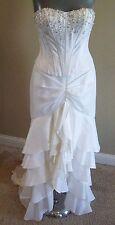 Hannah S White Ruffled High Low Sweep Train Bridal Gown Wedding Dress Size 2 4 6