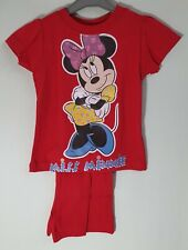 Disney Miss Minnie Mouse Childrens Girls Red T Shirt Shorts Pyjamas Set Age 3