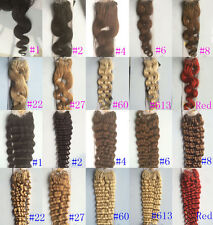 """22"""" Remy Micro Ring Tube Loop Human Hair Extensions Wavy Deep Curly 1g/s 100g"""