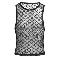 Mens Mesh Lingerie Vest Fitted Gym Trainning Tank Top T shirt Fish Net Clubwear