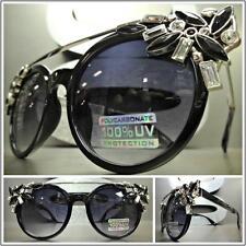 CLASSIC VINTAGE RETRO CAT EYE Style SUN GLASSES Black Silver Frame Huge Crystals