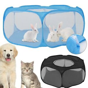 Foldable Pet Playpen Zipper Indoor Outdoor Small Animal Cage Tent Portable Fence