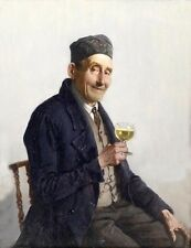 Hand painted Oil painting old man portrait holding wine cup Beer or lemon tea